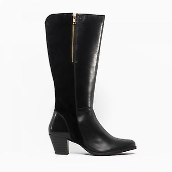 Comfort Plus Becky Ladies Leather Tall Boots Black