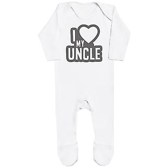 I Love My Uncle Black Outline Baby Romper