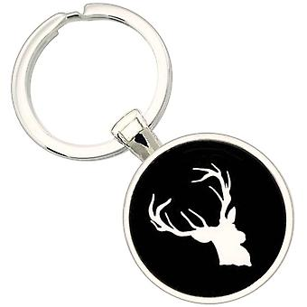 Bassin and Brown Stag Key Ring - Black/White