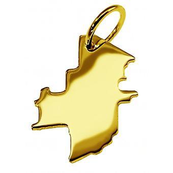 Hänge karta kedja hänge i guldgult-guld i form av WINNIPEG