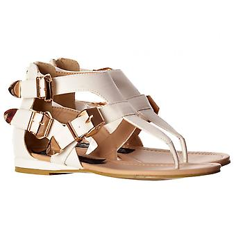 Onlineshoe Triple solki Gladiator toe post cut out Flatform Flat Sandal-valkoinen, musta