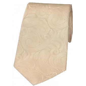 David Van Hagen Luxury Tonal Paisley Silk Tie - Ivory