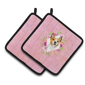Carolines Treasures  CK4115PTHD Basenji Pink Flowers Pair of Pot Holders