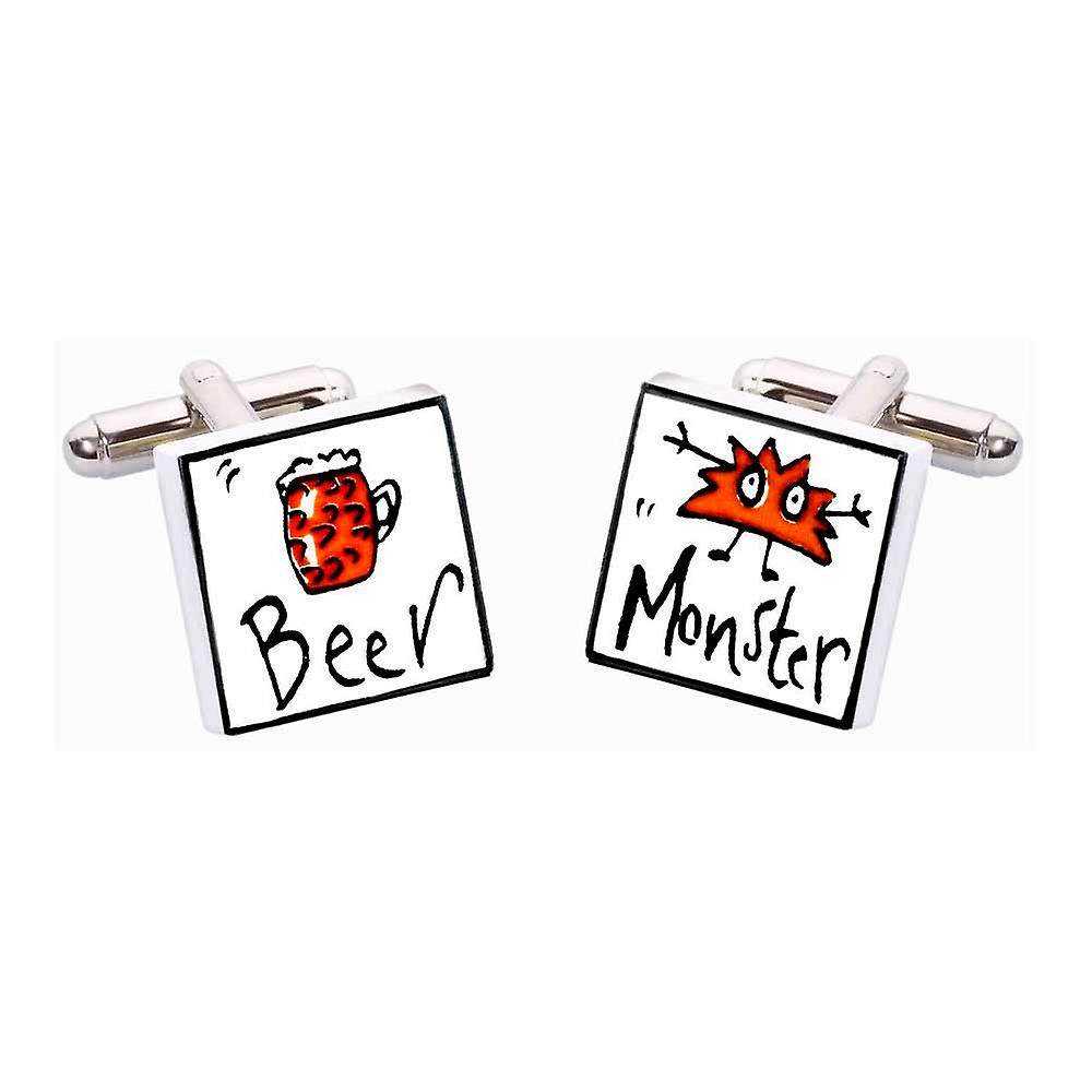 Beer Monster Cufflinks by Sonia Spencer, in Presentation Gift Box. Lager