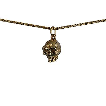 9ct Gold 10x11mm Skull Pendant with a 1.1mm wide spiga Chain 24 inches