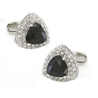 Black Triangle Crown Crest Shield Shaped Cufflinks Stone Studded Novelty Shirt Cuff Links