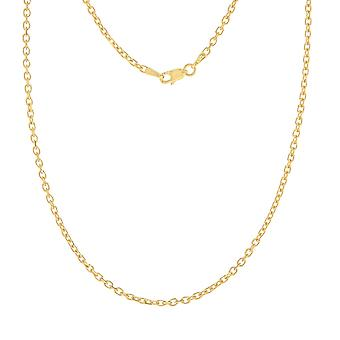14k Yellow Gold 2.3mm Sparkle Cut Cable Chain Necklace Lobster Claw Closure Jewelry Gifts for Women - Length: 18 to 30