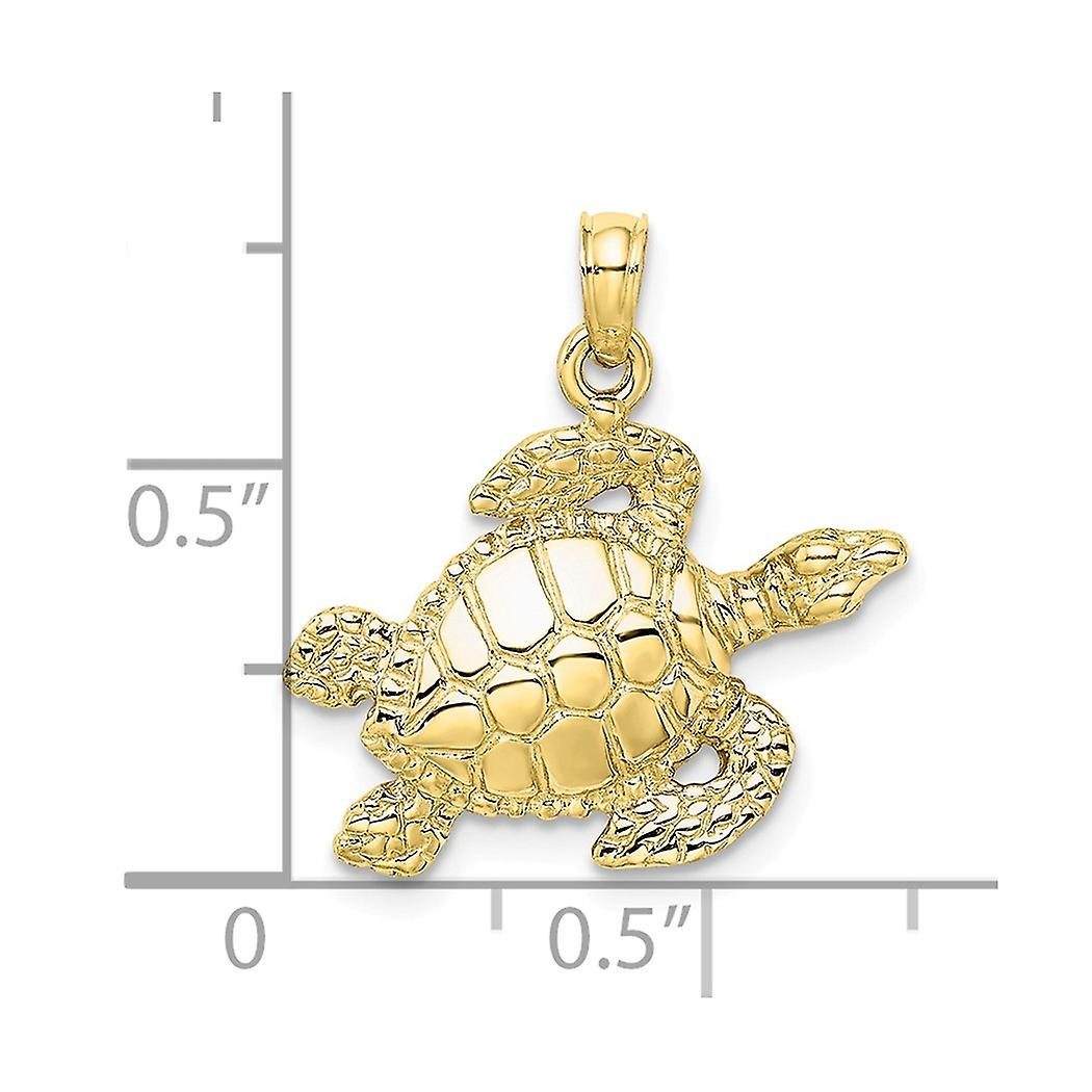 10k Gold Sea Turtle High Polish and Textured Charm Pendant Necklace Jewelry Gifts for Women