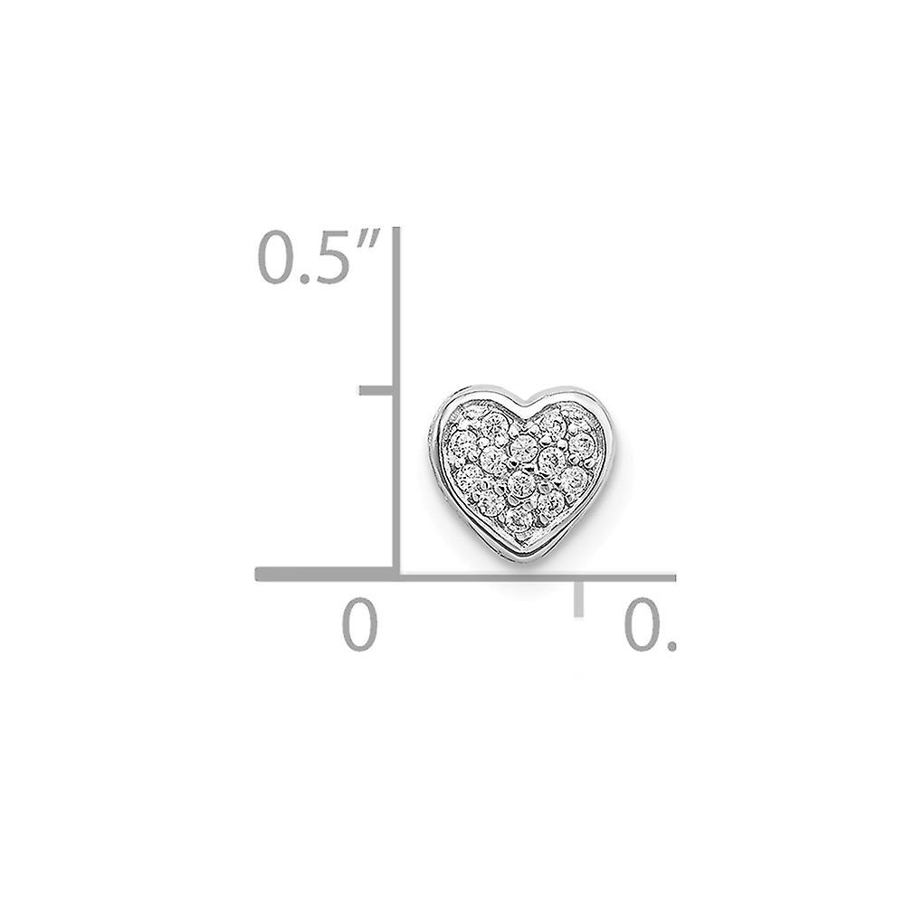 925 Sterling Silver Rhodium Plated CZ Cubic Zirconia Simulated Diamond Love Heart Slide Charm Pendant Necklace Jewelry G