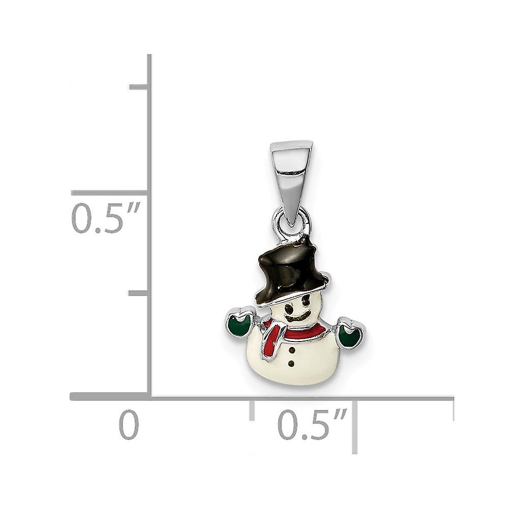 925 Sterling Silver Rhodium plated for boys or girls Enameled Snowman Pendant Necklace - .8 Grams