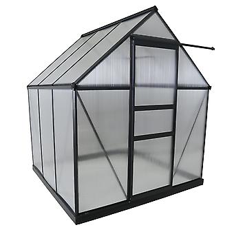 Charles Bentley Aluminium Frame Polycarbonate Greenhouse with Adjustable Roof Vents Grey 6 x 6.1ft