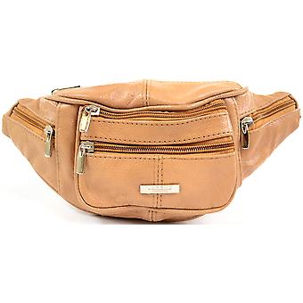 Mens / Ladies / Womens Leather Bumbag / Waist Bag with Adjustable Waist Strap - Tan