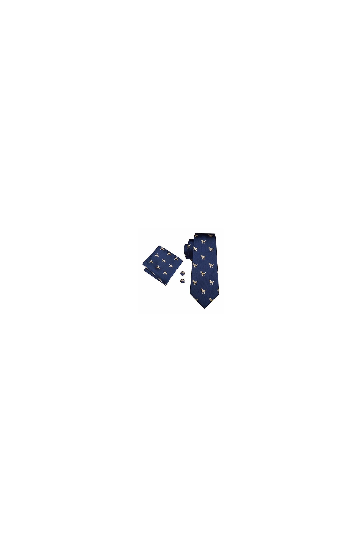 Jenson Samuel Navy Dinosaur Pocket Square, Cufflink And Wedding Tie Set