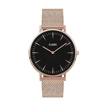 CLUSE La Boheme Rose Gold PVD Stainless Steel Black Dial Ladies Watch CW0101201003