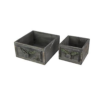 Set of 2 Gray Butterfly Wooden Drawers Accent Storage Decorative Desktop Shelves