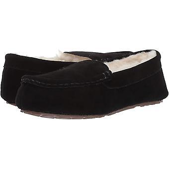 Amazon Essentials Women's Leather Moccasin Slipper, Black, 6 M US