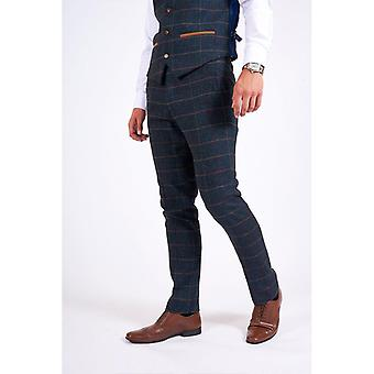 Marc Darcy ETON Tweed Check Hose - Navy Blue