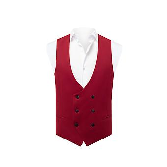 Avail London Mens Chilli Red Waistcoat Skinny Fit Double Breasted