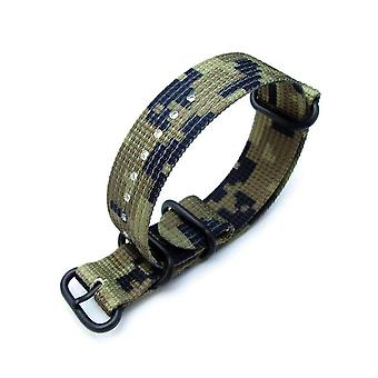 Strapcode n.a.t.o watch strap miltat 22mm g10 military waffle zulu nylon armband, pvd - military green