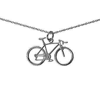 Silver 17x29mm Bicycle Pendant with a rolo Chain 24 inches