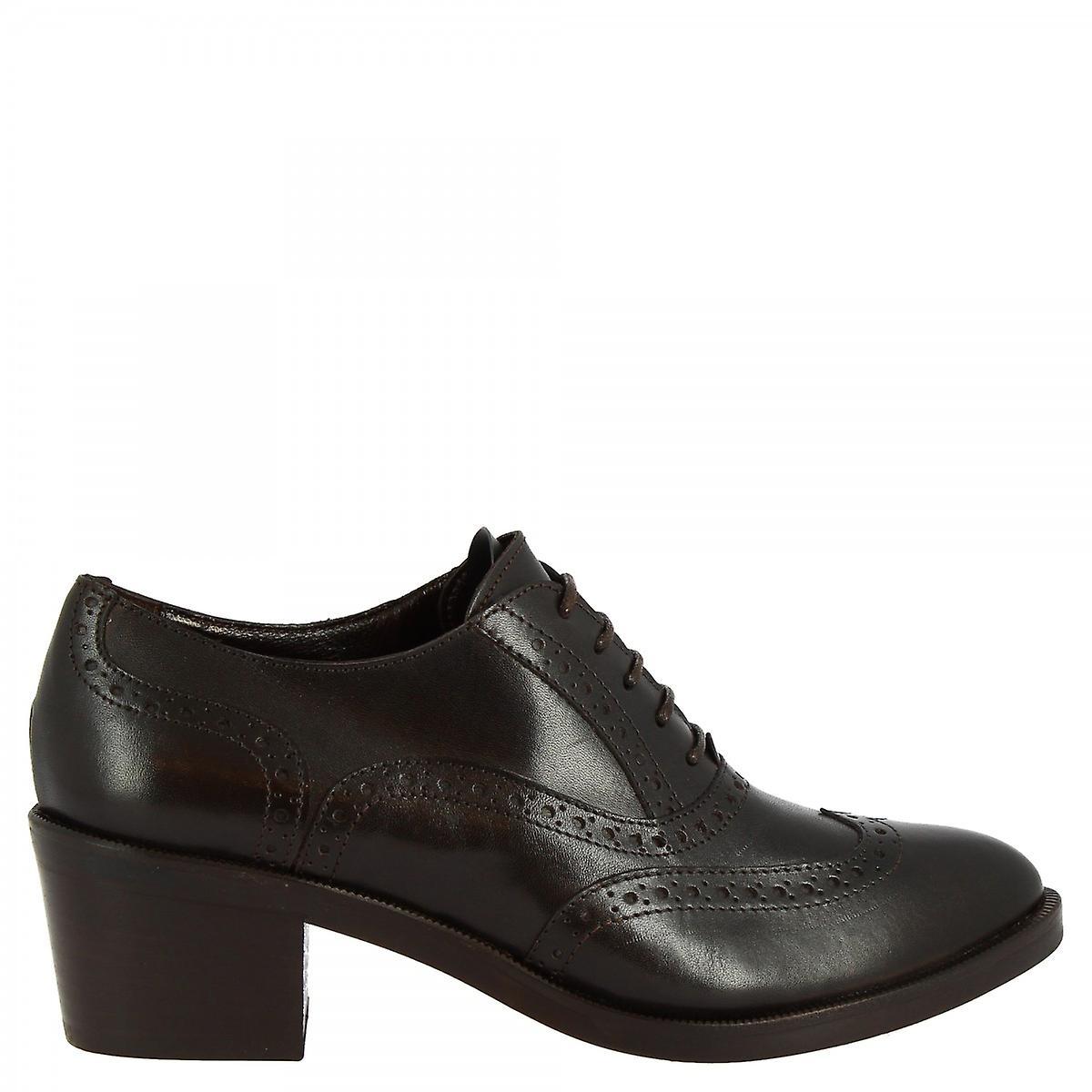 Leonardo Shoes Women's handmade heels oxfords shoes in dark brown calf leather