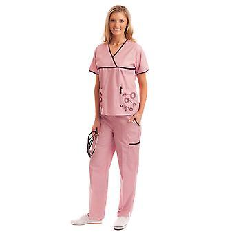 Kobiet niepowtarzalny haft kwiatowy medycznych Uniform