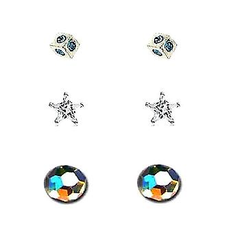 TOC Sterling Silver Rhinestone Set Cube, Star & Ball Stud Earrings - 3 Pairs