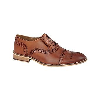 Roamers Tan Leather 5 Eyelet Brogue Oxford Textile Lining. Pu Sock Tunit Sole
