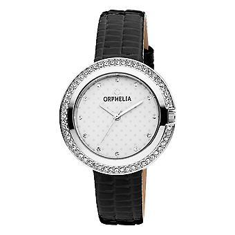 ORPHELIA Women Analogue Watch Glitz Black Leather OR11718
