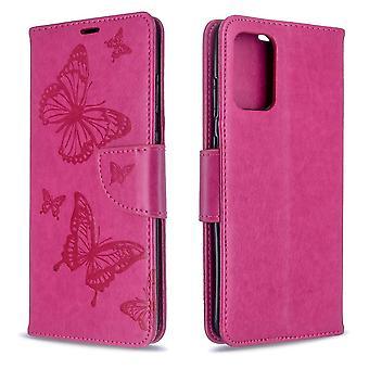 Für Samsung Galaxy S20 Ultra Fall, Schmetterlinge Muster PU Leder Brieftasche Abdeckung mit Stand & Lanyard, Rose rot