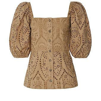 Ganni Broderie Anglaise Square Neck Top