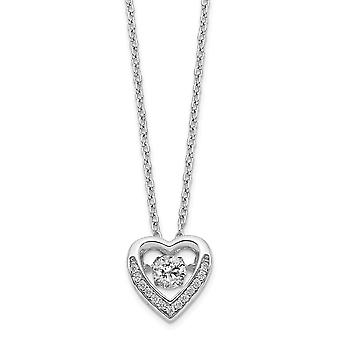 10.8mm Cheryl M 925 Sterling Silver Brilliant cut Moving Center CZ Cubic Zirconia Simulated Diamond Love Heart Necklace