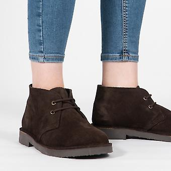 Roamers Originele Unisex Suede Leather Desert Boots Donkerbruin