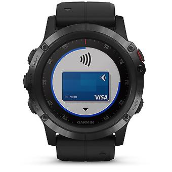 Garmin Watches 010-01989-01 Fenix 5x Plus Black With Black Silicone Band Smartwatch