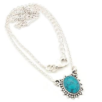 Turquoise Necklace 925 Silver Sterling Silver Necklace Necklace Blue Green (MCO 12-15)