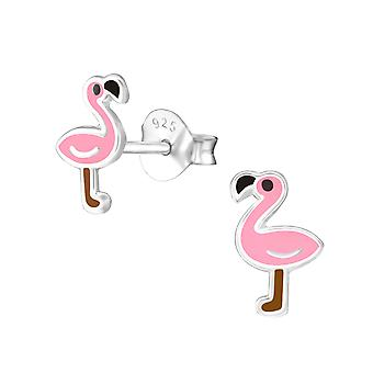 Flamingo - 925 Sterling Silber farbige Ohrstecker - W21003x