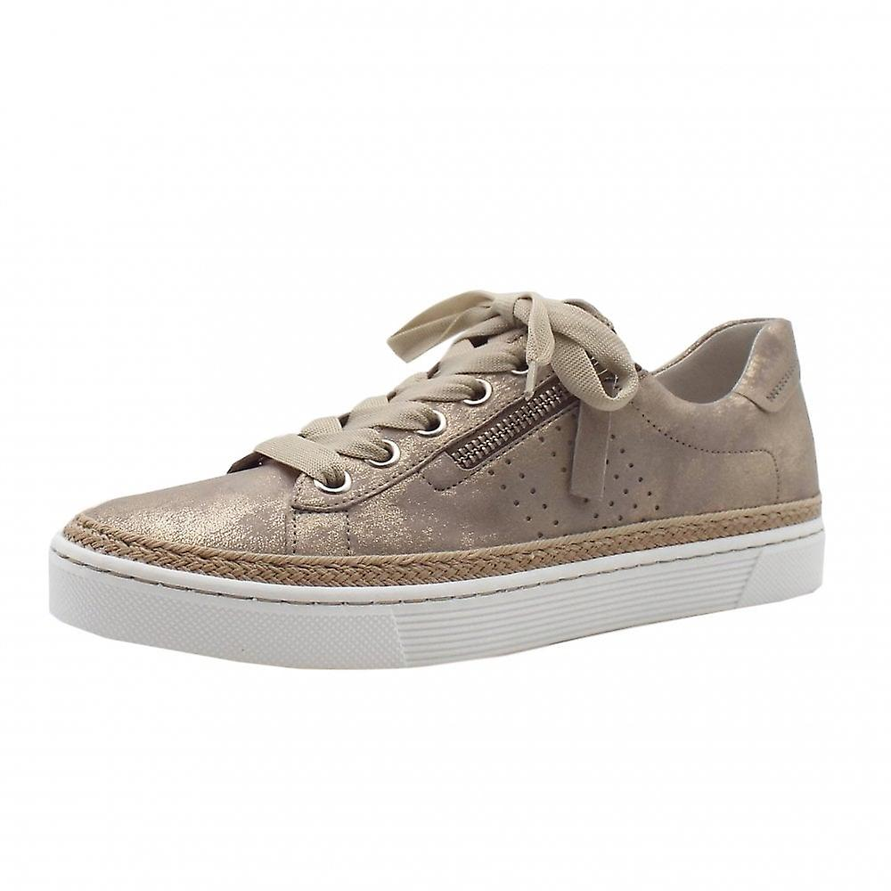 Gabor Imp Lace Up Wide Fit Leather Sneakers In Mushroom 0dScu