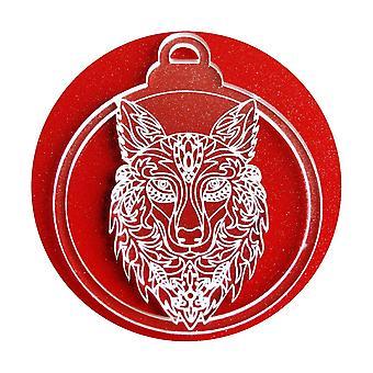 6 Pk Wolfskopf klar Acryl Weihnachtsschmuck