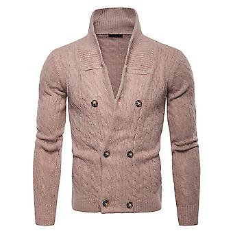 Cloudstyle Men's Cardigan Cotton Double-Breasted Solid Sweater