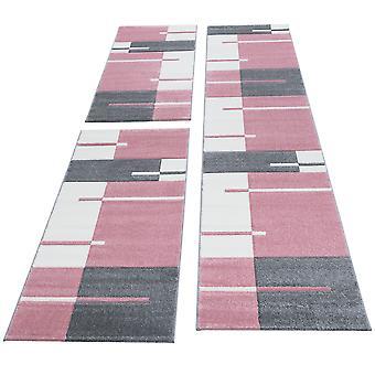 Runner Rug Bed Border Short Flor Tile Design Pink White Grey Melted