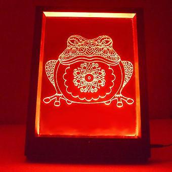 Mandala żaba kolor zmiana rama światła LED lustra zdalnego sterowania