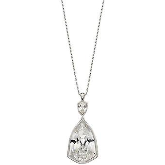 Elements Silver Trilliant Shape Crystal Pendant - Silver/Clear