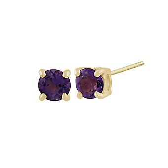 Classic Round Amethyst Stud Earrings in 9ct Yellow Gold 11560