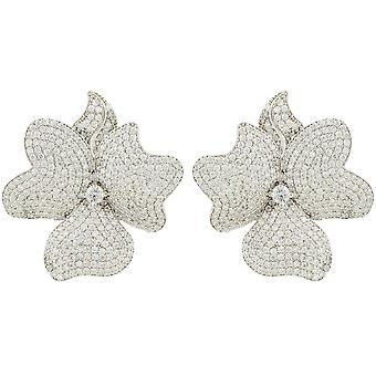 Flower Large Statement Stud Earrings Silver White CZ Bridal Wedding Big
