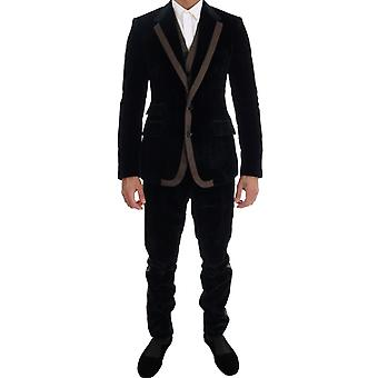 Dolce & Gabbana Blue Velvet Two Button Slim 3 Piece Suit