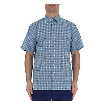 Prada Ucs2931p93f0012 Männer's hellblaue Baumwollshirt