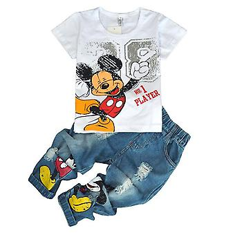 Autum Kids Mickey T-Shirt And Hole Jeans