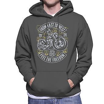 Route 66 From East To West Biker Men's Hooded Sweatshirt