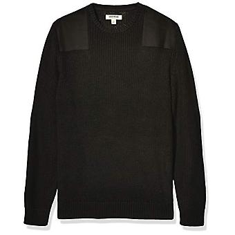 Goodthreads Men's Soft Cotton Military Sweater, Solid Black XXX-Large Tall