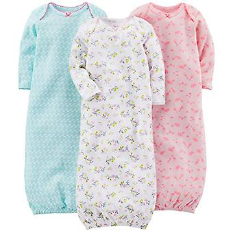 Enkla glädjeämnen av Carter's Baby Girls' 3-pack Cotton Sleeper Gown, Blue, Pink, W...